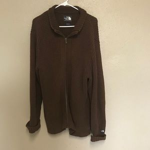 North face brown knit zip up sweater